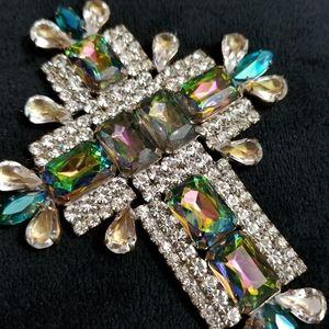 Vintage Iridescent Czech crystal cross pendant